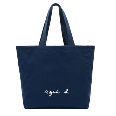 agnes b. Voyage 帆布 logo 托特包 (深藍)