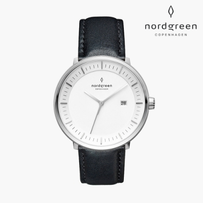 Nordgreen Philosopher 哲學家 月光銀系列 極夜黑真皮錶帶手錶 40mm