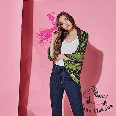 Hana+花木馬 100%天絲幾何圖騰印花斗篷造型針織外罩-綠(共2色)