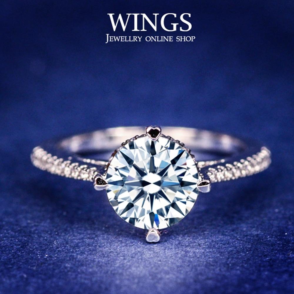 【WINGS】摯愛情真 頂級八心八箭方晶鋯石擬真鑽戒 聖誕(擬真鑽 八心八箭 鑽 禮物) RW097