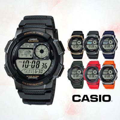 CASIO卡西歐 地圖時區電子錶(AE-1000W)