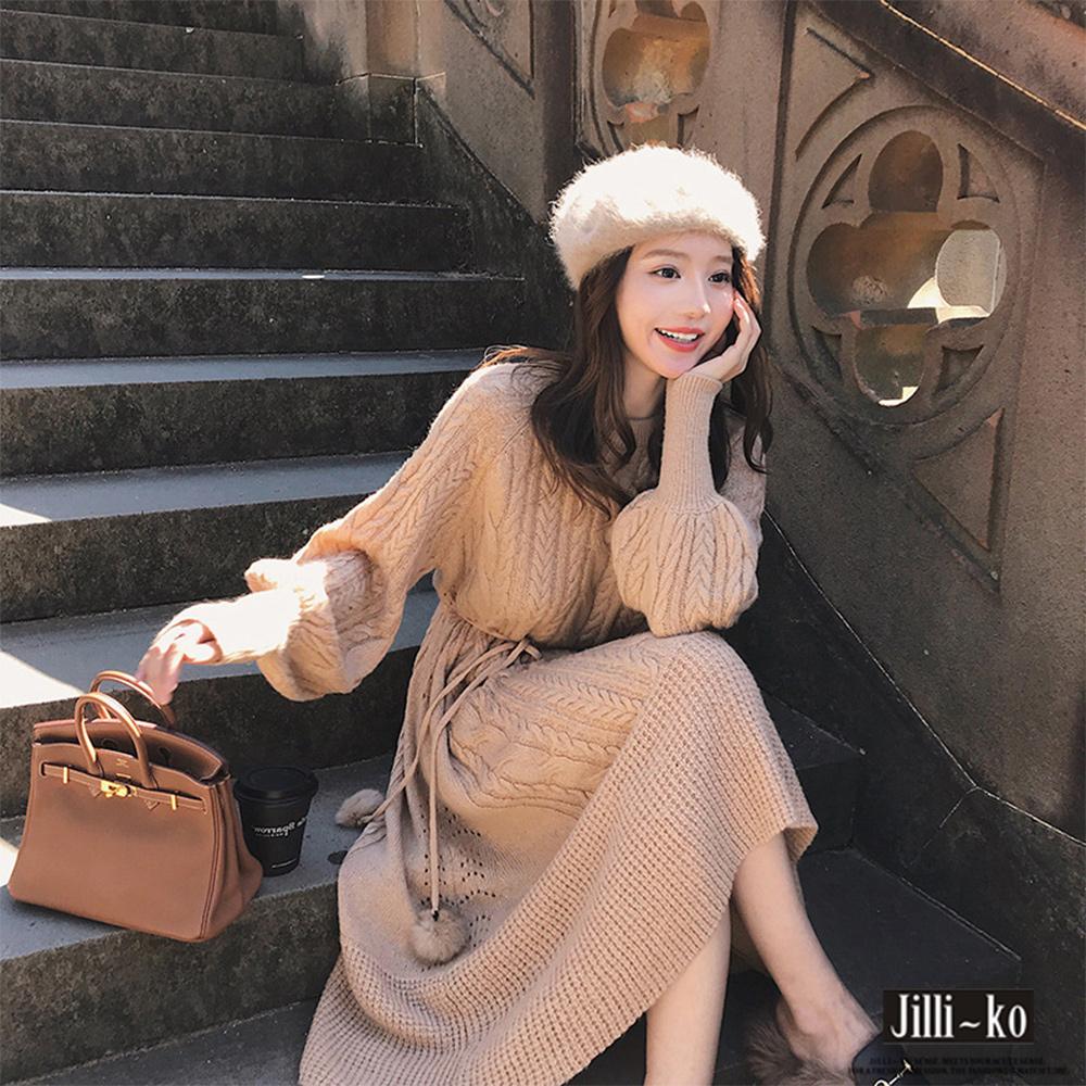 JILLI-KO 法式復古收腰繫繩針織連衣裙- 咖啡/杏