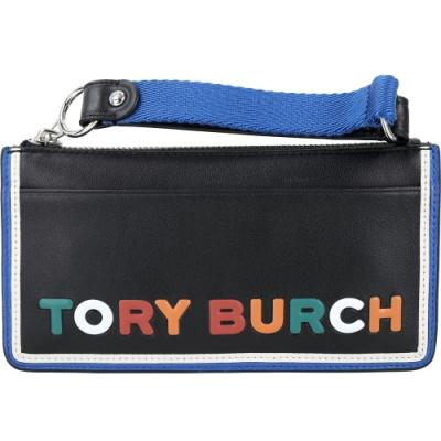 TORY BURCH Perry 彩色字母皮革手腕萬用包(黑色)