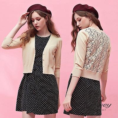 OUWEY歐薇 鑲蔥星星蕾絲造型針織外套(可)