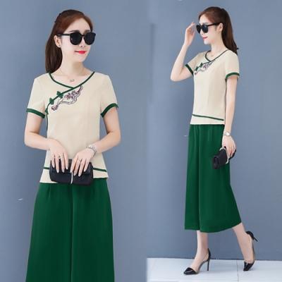 【韓國K.W.】韓流搭配滿分中國風繡花盤扣套裝-3色