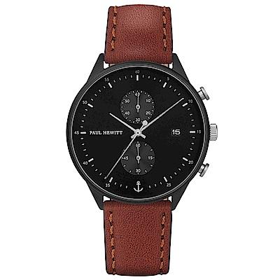 PAUL HEWITTChrono Line風尚真皮計時手錶-黑X咖啡/42mm