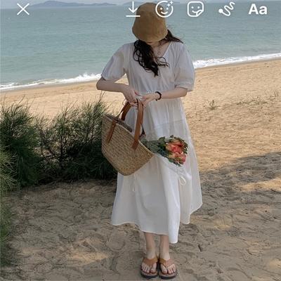 甜美清新白色高腰寬鬆洋裝-F-沐朵