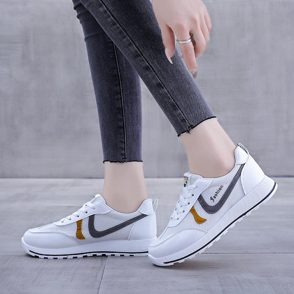 LN  現+預 韓版厚底撞色鬆糕小白鞋(厚底鞋/休閒鞋) (灰色)