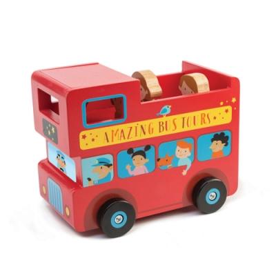 Tender Leaf Toys木製家家酒玩具-英倫巴士存錢筒玩具