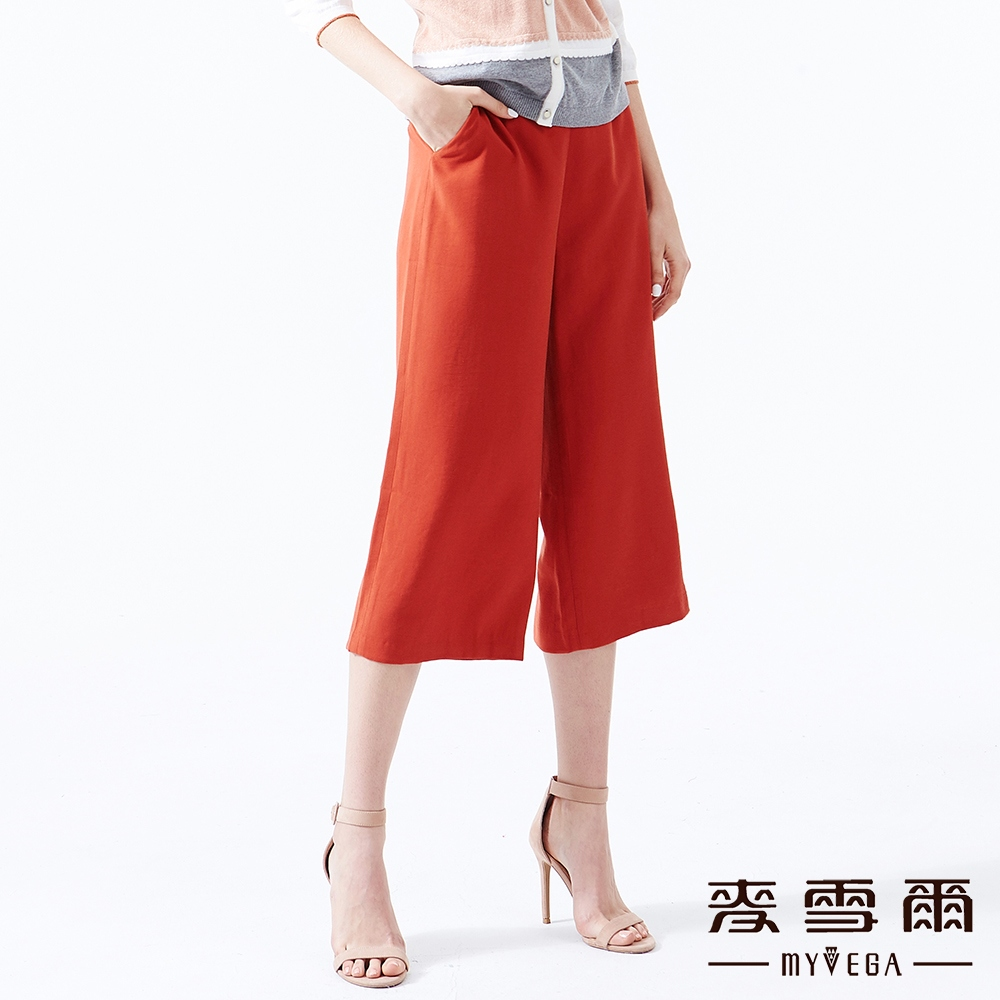 【麥雪爾】磚紅金屬腰飾八分寬褲