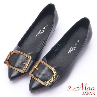 2.Maa 率性方釦牛皮低跟尖頭娃娃鞋 - 黑