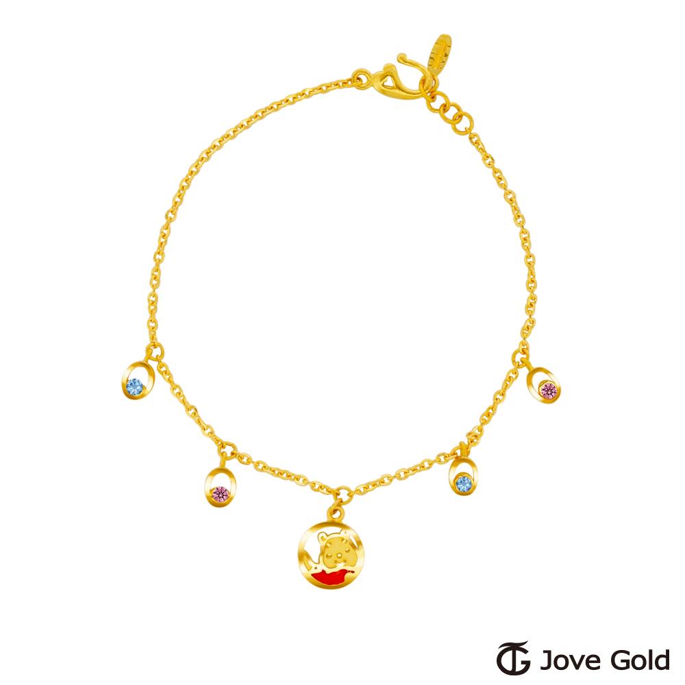 Disney迪士尼金飾 維尼系列-泡泡維尼黃金/水晶手鍊