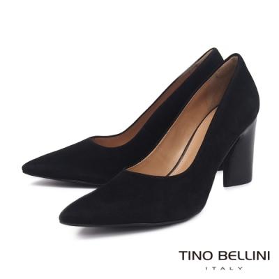 Tino Bellini 巴西進口啞光質感牛麂皮粗跟鞋_黑