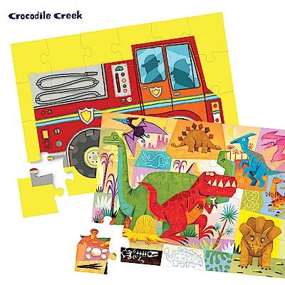 美國Crocodile Creek 迷你造型盒學習拼圖-2入組(消防車+恐龍世界)