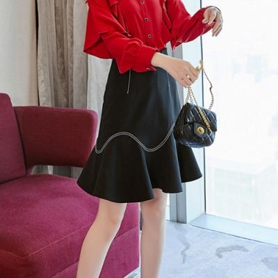 設計所在Lady-高腰魚尾包臀黑色短裙(S-XL可選)