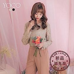 東京著衣-YOCO 雅緻優選柔軟睫毛蕾絲長袖上衣-S.M.L(共兩色)