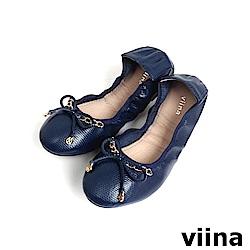 viina 時尚金鍊摺疊鞋MIT-藍色