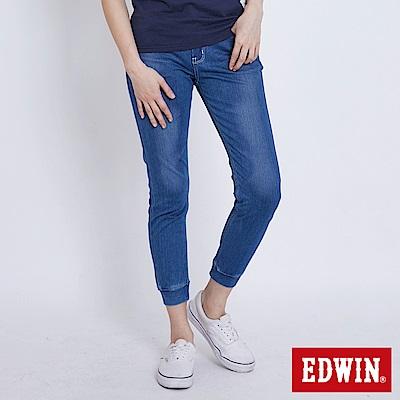 EDWIN 迦績JERSEYS刷色棉感 束口AB牛仔褲-女-石洗藍