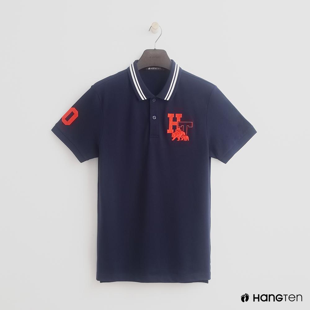 Hang Ten - 男裝 - logo滾邊領POLO衫 - 藍