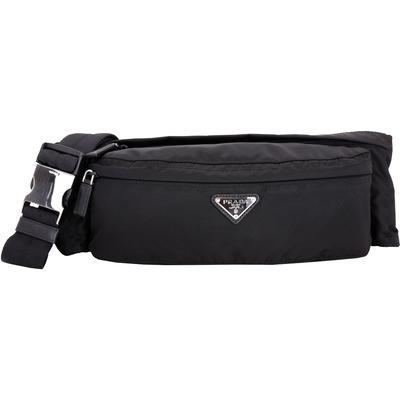 【PRADA 品牌日限定】PRADA Tessuto 三角牌雙拉鍊袋尼龍腰包(黑色)