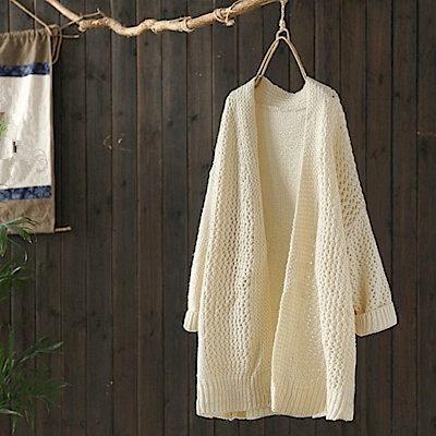 中長版風毛衣外套鏤空針織衫/設計所在/Y4912
