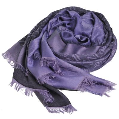 EMPORIO ARMANI 義大利製斜紋LOGO圖騰漸層薄造型圍巾(紫色系)