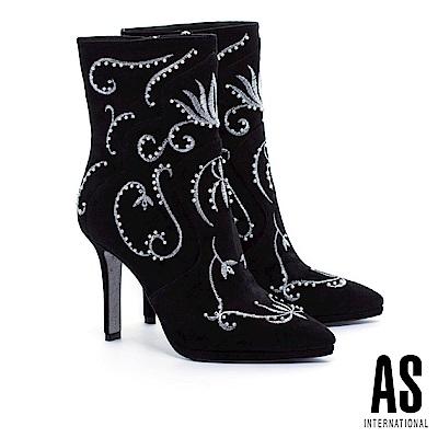 短靴 AS 唯美巴洛克刺繡珍珠麂皮美型高跟短靴-黑