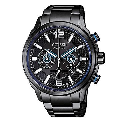 CITIZEN 簡約風格光動能三眼計時錶-CA4385-80E