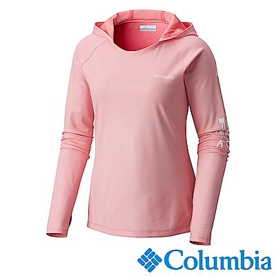 Columbia哥倫比亞 女-PFG抗曬50快排長袖連帽上衣-粉UFE00340PK