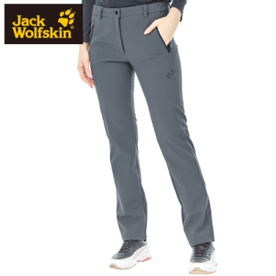 【Jack wolfskin 飛狼】女 軟殼防風保暖長褲 修身版型『鐵灰』