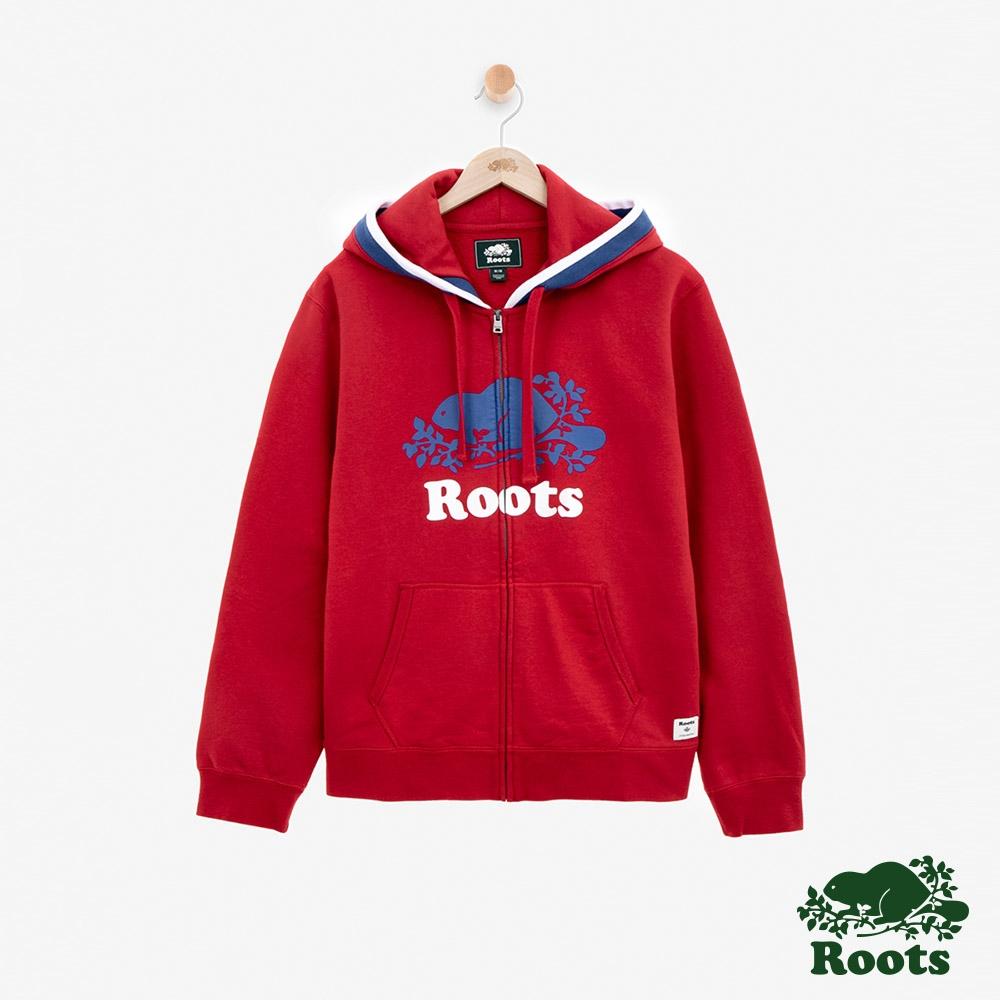 ROOTS 男裝 -周年系列刷毛連帽外套-紅色