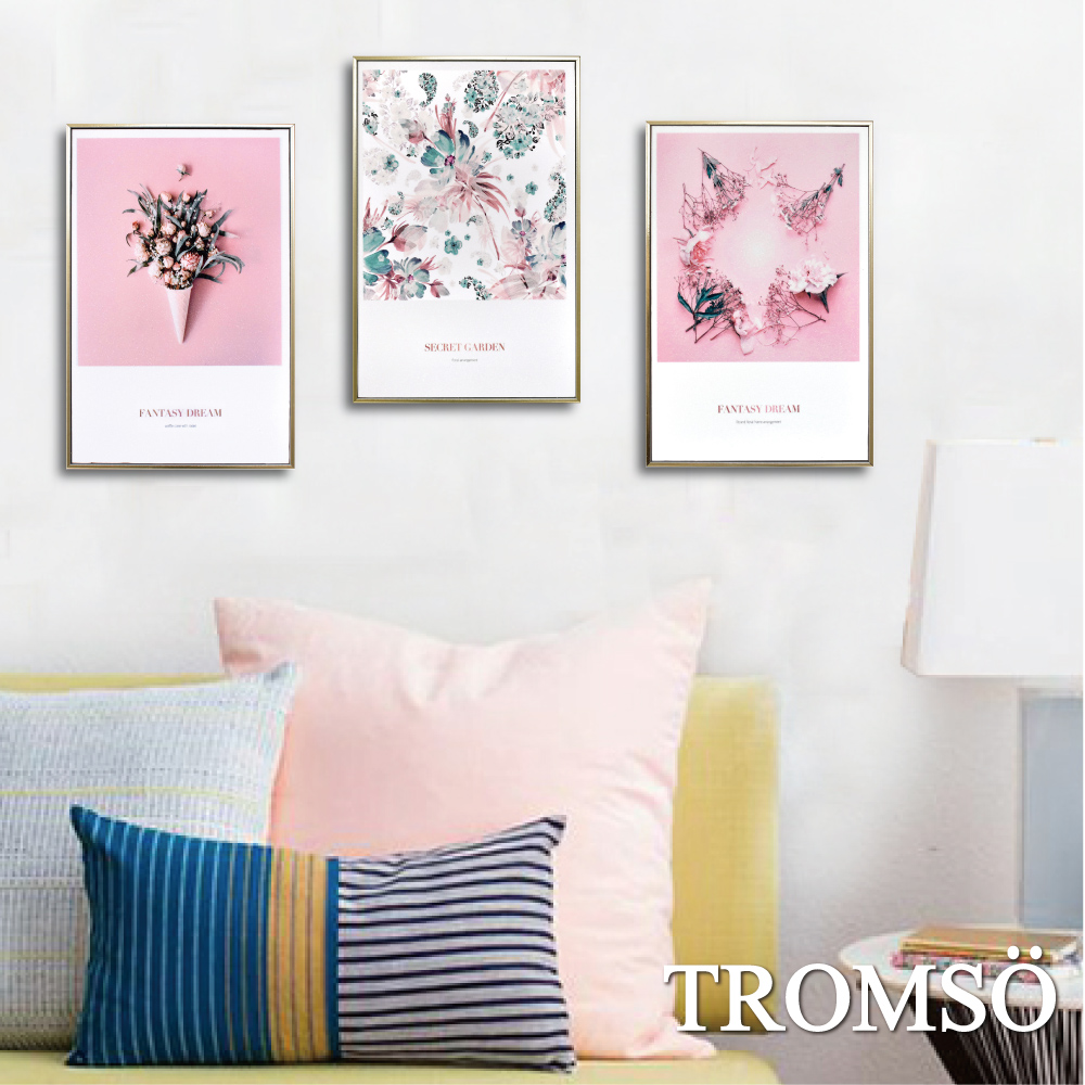 TROMSO 北歐生活版畫有框畫-粉紅花藝WA95(三幅一組)