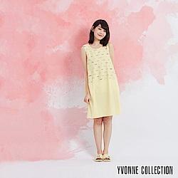 YVONNE 魚魚印花拼接無袖洋裝-嫩黃