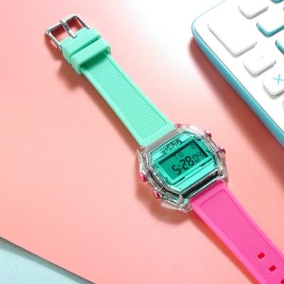 I AM 電子液晶 繽紛色彩 錶帶自由搭配 矽膠手錶-綠x透明x桃紅 33mm