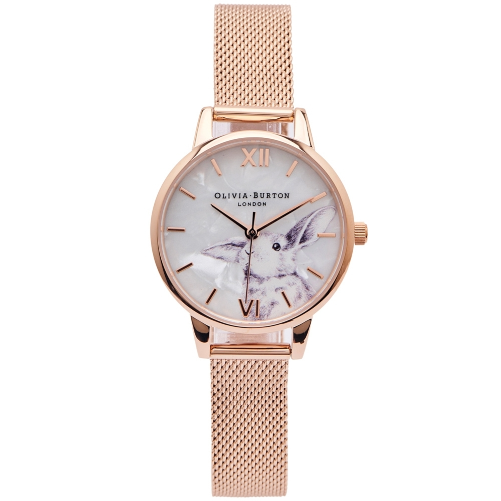 OLIVIA BURTON 純真大耳兔子風格的米蘭帶錶帶手錶(OB16WL85)-珍珠貝面/30mm