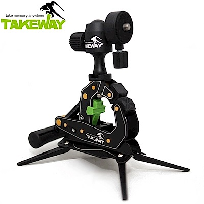 台灣製造TAKEWAY鉗式腳架,T1+ 即T1 Plus(較T1多了G1這個配件,台灣公司貨,享三年保固)