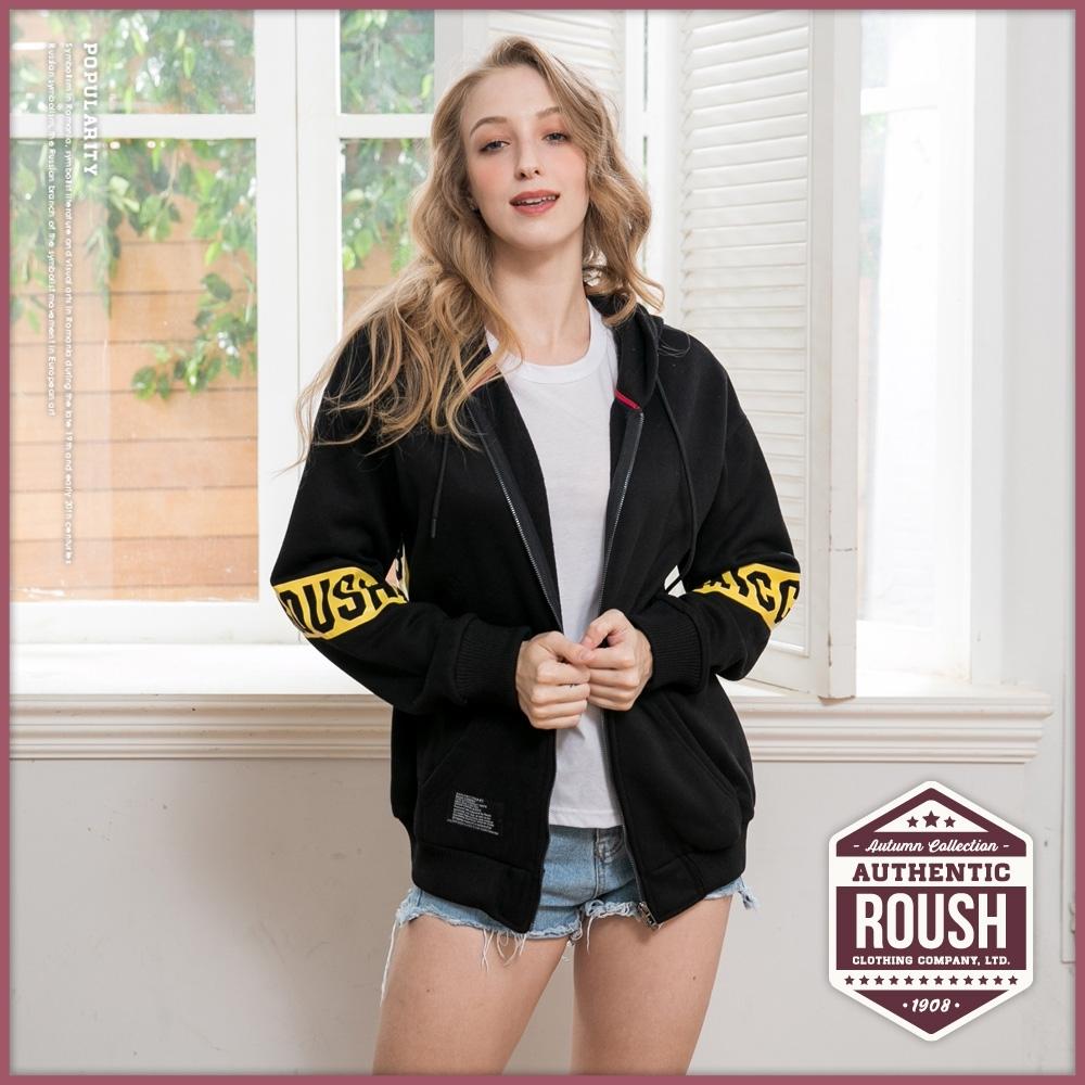 Roush 女生over size橫貫式印花落肩設計刷毛帽外套(2色)
