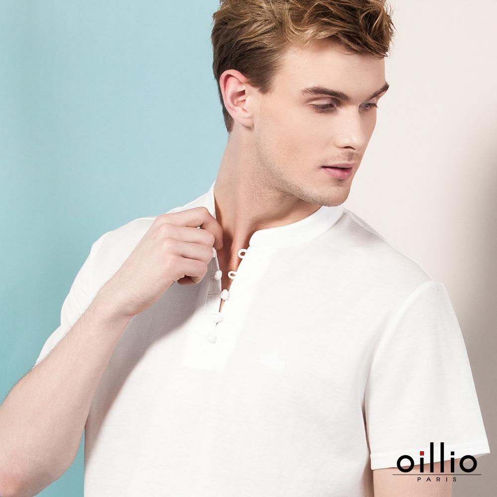 oillio歐洲貴族 短袖小立領透氣T恤 旗袍領素面款式 白色