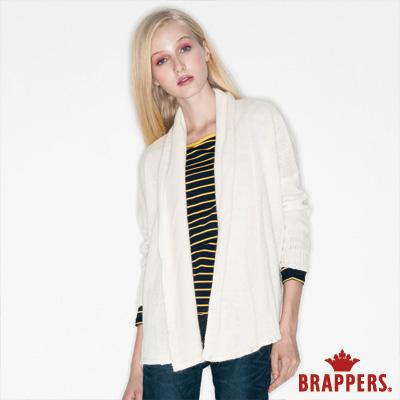 BRAPPERS 女款 女用垂墜落肩針織外套-米白