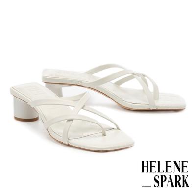 拖鞋 HELENE SPARK 簡約純色交叉細帶全真皮方頭高跟拖鞋-白