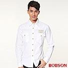 BOBSON 男款腰線素面長袖襯衫(白80)