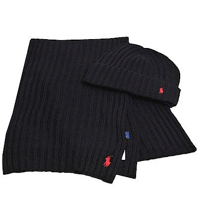 RALPH LAUREN POLO 小馬LOGO刺繡羊毛圍巾毛帽組(黑色)