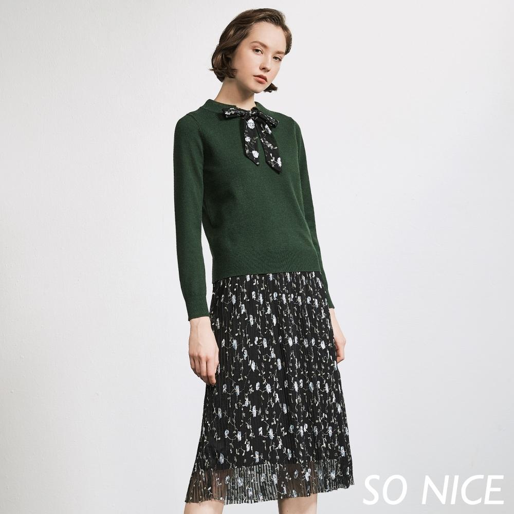 SO NICE優雅針織繡花網紗洋裝