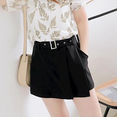 腰帶設計不規則剪裁純色短褲/裙-OB大尺碼