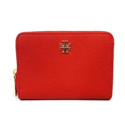TORY BURCH 防刮牛皮ㄇ型拉鍊零錢鑰匙包(紅)