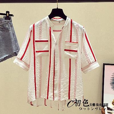 簡約條紋雪紡上衣-共3色(M-2XL可選)    初色