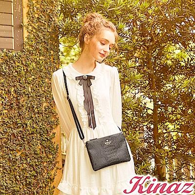 KINAZ  慵懶貓步兩用斜背包-蔻丹桃紅-模特兒系列