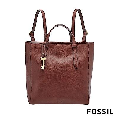 FOSSIL Camilla 俐落簡約手提真皮小方包-酒紅色
