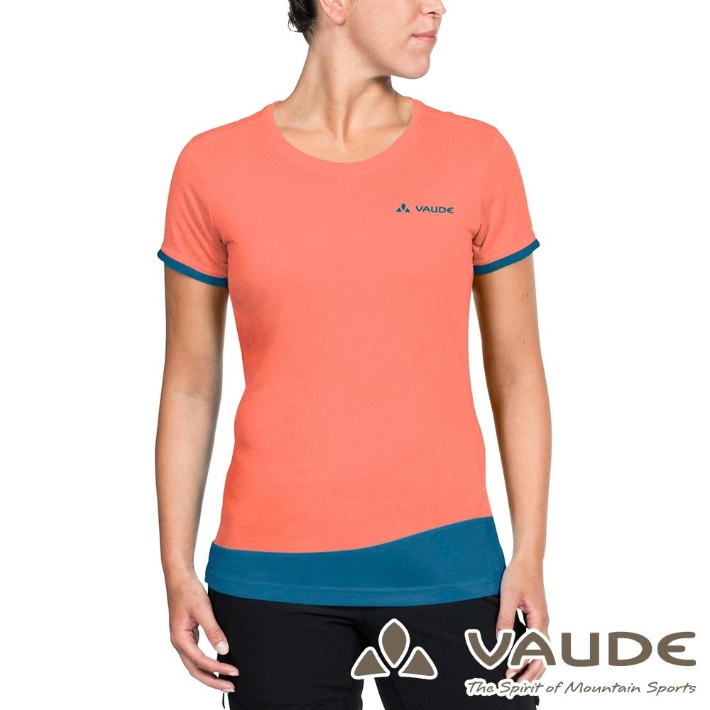 【VAUDE德國】女款小羊毛吸濕排汗透氣快乾短袖T恤VA-40398粉橘