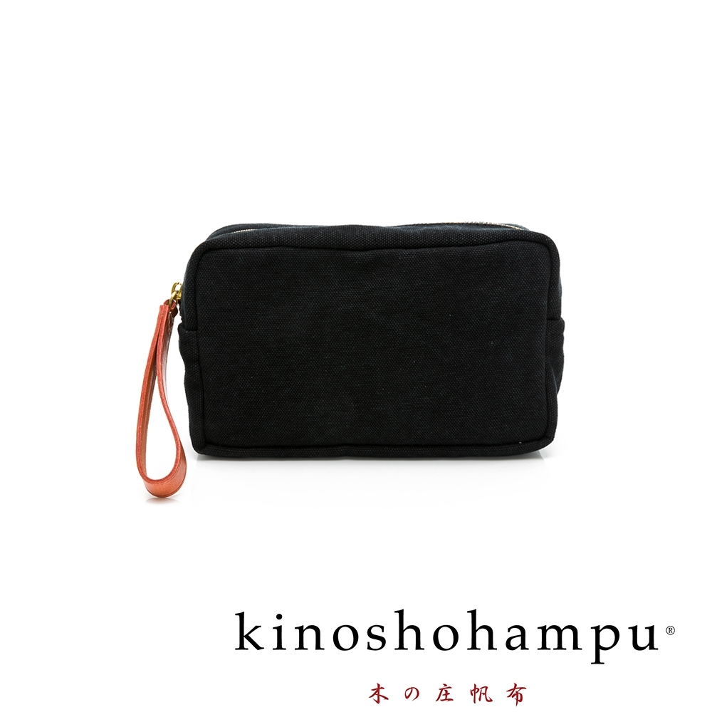 kinoshohampu weekend水洗帆布皮飾化妝包 黑色